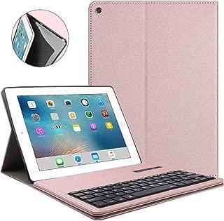 Keyboard Case for iPad 2 - iPad 3 - iPad 4, PU Leather Keyboard Case, Detachable Keyboard, Wireless Connect, iPad Keyboard Case, (Rose Gold)