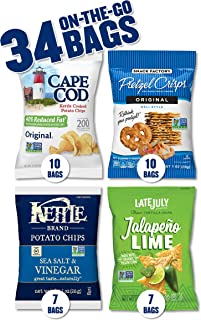 Snack Variety Pack with Kettle Brand and Cape Cod Potato Chips, Late July Tortilla Chips & Snack Factory Pretzel Crisps, 34 Count