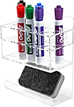 MyGift Wall-Mounted 2-Tier Clear Acrylic 10-Slot Dry Erase Whiteboard Marker and Eraser Holder Stand