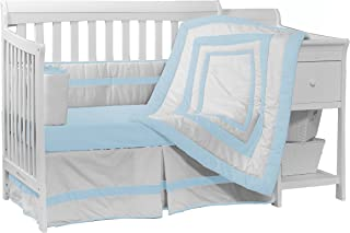 brown and blue polka dot baby bedding
