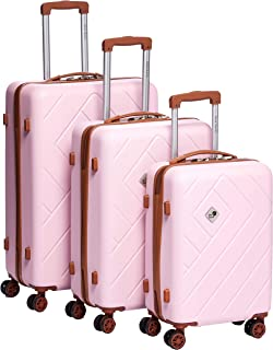 New Travel Hardside spinner luggage Set of 4 pieces with 3 digit number Lock -PinkRP862/4P Pink