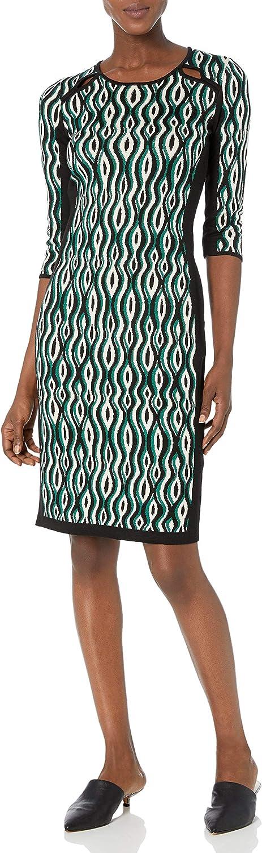 Gabby 訳あり品送料無料 Skye Women's 3 4 上等 Sleeve Scoop Sh Printed Out Neck Midi Cut