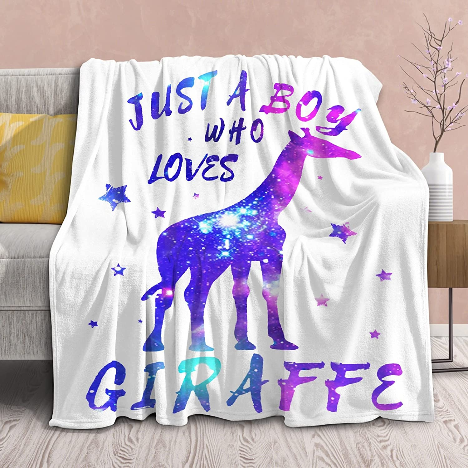 Blanket Just A Boy Who Sale special price Loves Lightweight Throws So Quilt Ranking TOP10 Giraffe