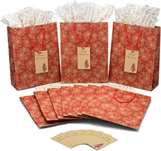 Christmas Bags for Gifts Set of 10 Red Chintz Kraft + 10 Sheets of Noel Tissue Paper + 10 Gift Tags. Everything at Hand to Wrap Presents, Ideal for Your Christmas Gifts.
