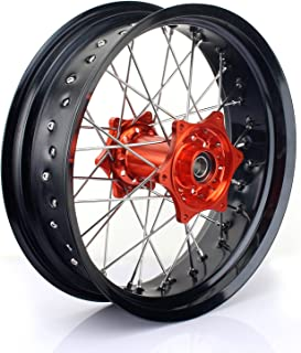 "TARAZON 17""x5.0"" Rear Supermoto Wheel Kit Rim Orange Hub Spokes for KTM SX XC SX-F XC-F 125 150 250 300 350 450 With 25mm axle spacers"