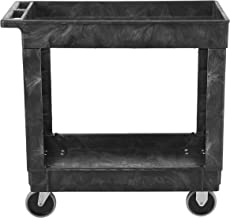 Rubbermaid Commercial Products 2-Shelf Utility/Service Cart, Small, Lipped Shelves, Standard Handle, 500 lbs. Capacity, for Warehouse/Garage/Cleaning/Manufacturing (FG9T6600BLA)