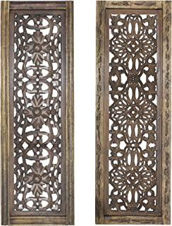 TUP The Urban Port, Brown Floral Hand Carved Wooden Wall Panels, Assortment of Two, 2