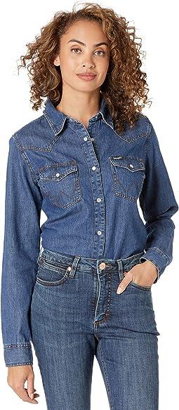 Long Sleeve Snap Denim Western Shirt