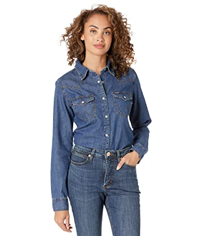 Wrangler Long Sleeve Snap Denim Western Shirt (Dark Denim) Women