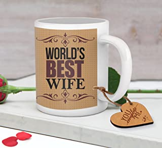 TIED RIBBONS Birthday, Anniversary Gift for Wife Husband - Romantic Gift for Him or Her - Coffee mug for Boyfriend Girlfriend with Wooden Tag