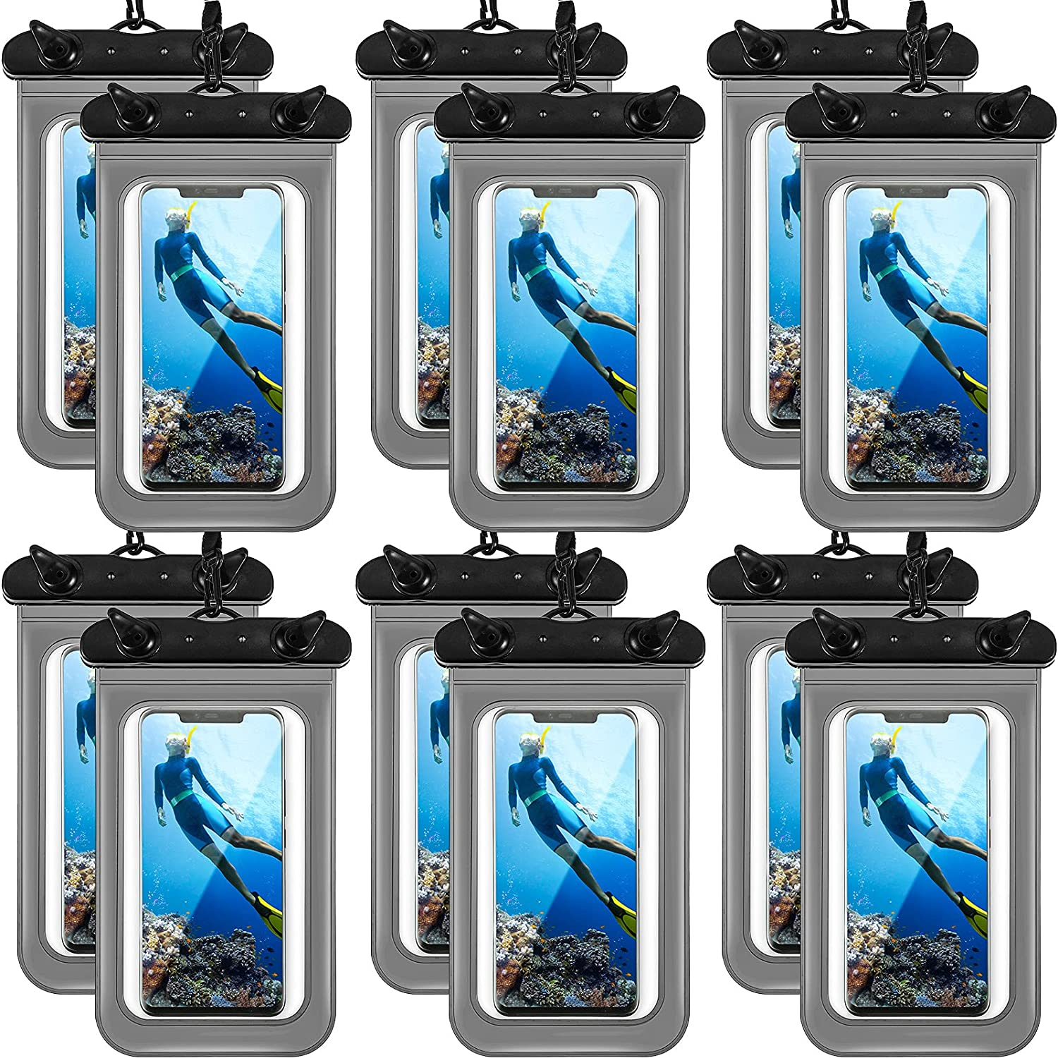 12 Pieces Waterproof Phone Pouch Transparent Waterproof Mobile Phone Case with Lanyard Universal PVC Phone Bag Dry Bag for Outdoor Water Sports Boating Hiking Fishing Swimming (Black)