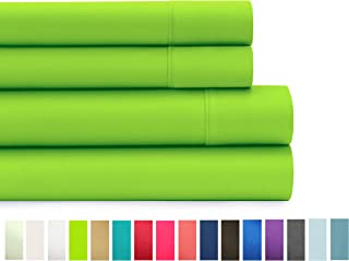 American Home Collection Deluxe 4 Piece Bed Sheet Sets Highest Quality of Brushed Microfiber Wrinkle Resistant Silky Soft Touch (Twin, Lime Green)