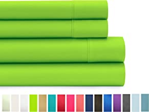 American Home Collection Deluxe 4 Piece Bed Sheet Sets Highest Quality of Brushed Microfiber Wrinkle Resistant Silky Soft Touch (King, Lime Green)