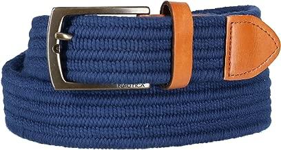 Nautica Men's Stretch Braided Fabric Belt, Medium, Navy