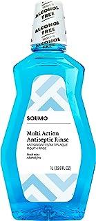 مارک آمازون - دهانشویه ضد عفونی کننده Solimo Multi Action ، بدون الکل ، نعناع تازه ، 1 لیتر