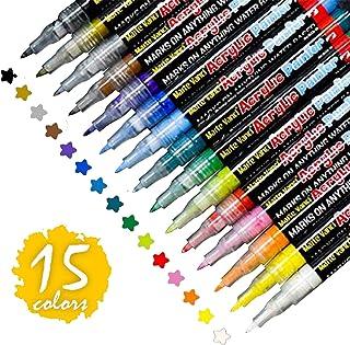Aliyer Paint permanente acrylstiften, 12 kleuren, watervaste stiften voor het beschilderen van stenen, hout, stof, kunstst...