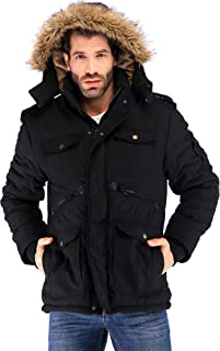 Mens Winter Military Warm Jacket Fleece Coat with Detachable Fur Hood Outwear