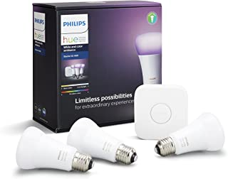 Philips Hue White and Colour Ambiance Smart Bulb Starter Kit - Edison Screw E27 (Compatible with Amazon Alexa, Apple HomeK...