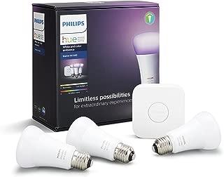 Philips Hue(ヒュー)スターターセットv3 | E26スマートLEDライト3個+ブリッジ1個 | 【Amazon Echo、Google Home、Apple HomeKit、LINEで音声コントロール