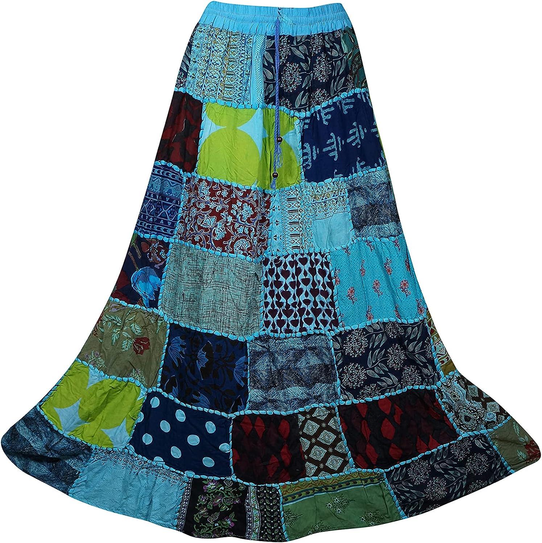 Indiatrendzs Women Long Skirt Blue Green Vintage Indian Patchwork Skirts S/M