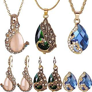 Hicarer 6 Pieces Women Elegant Necklace Set Peacock Waterdrop Rhinestone Pendant Necklace Crystal Peacock Pattern Earrings...