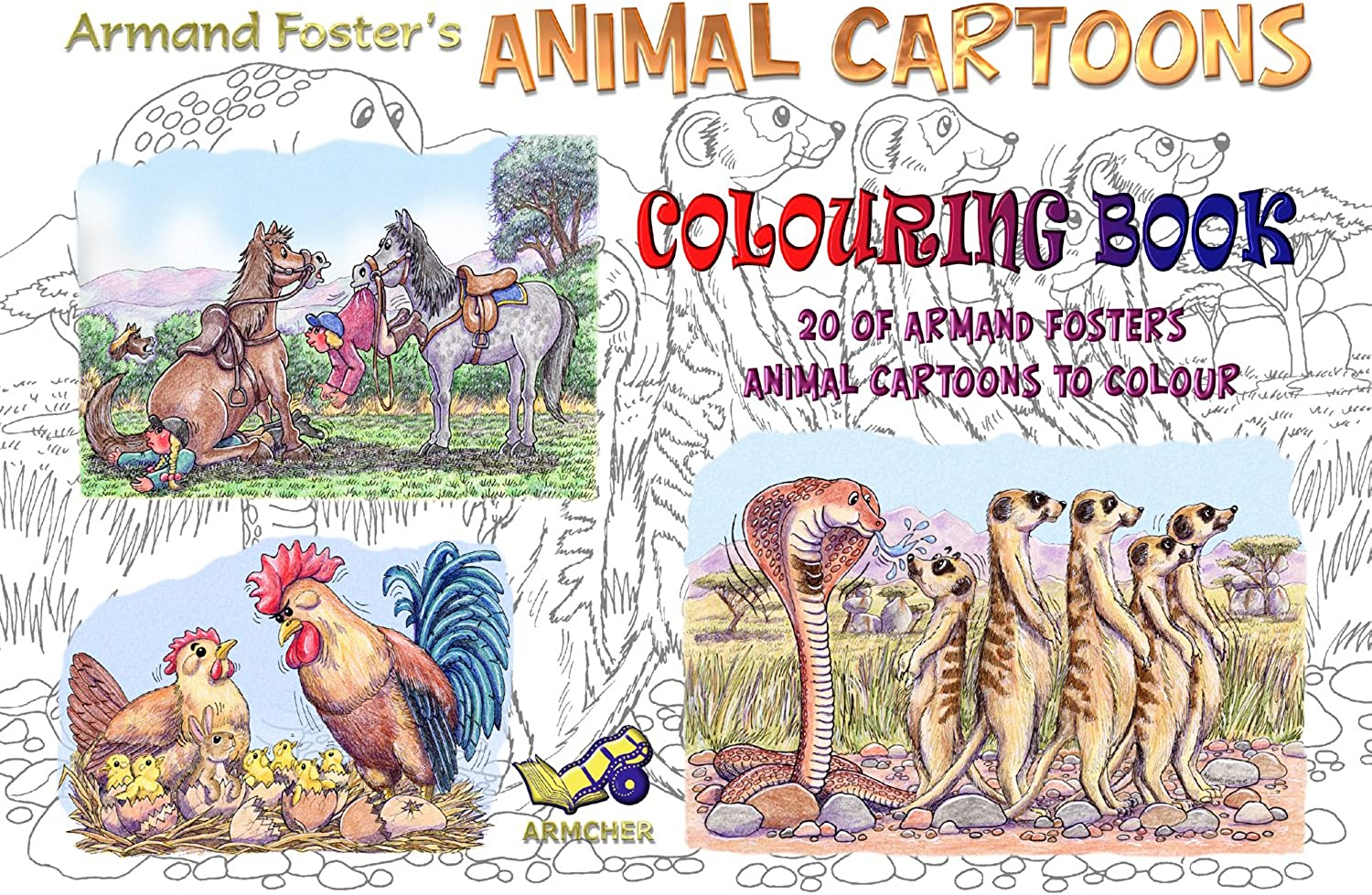 COLOURING BOOK SET No. 2 - ANIMAL CARTOONS - A4 - ARMAND FOSTER B0119T03FW  | Vogue