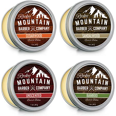Beard Balm Variety Pack - 4 Beard Balm Samples (1 oz each) Made with Natural Oils, Butters & Rich in Vitamins & Minerals - Argan Oil, Shea Butter, Coconut Oil, & Jojoba Oil to Hydrate, Condition