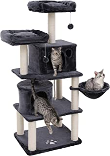 FEANDREA 60 inches Multi-Level Cat Tree with Sisal-Covered Scratching Posts, Plush Perches, Basket and 2 Condos, Cat Tower Furniture - for Kittens, Cats and Pets