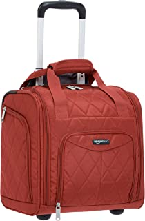 AmazonBasics Underseat Carry-On Rolling Travel Luggage Bag, 14-Inches - Red Quilted