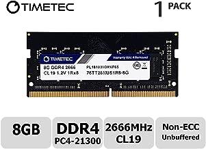 Timetec Hynix IC 8GB DDR4 SODIMM for Intel NUC KIT/Mini PC/HTPC/NUC Board 2666MHz PC4-21300 Non ECC Unbuffered 1.2V CL19 1Rx8 Single Rank 260 Pin Computer Memory Ram Module Upgrade(8GB)