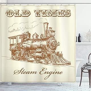 Ambesonne Steam Engine Shower Curtain, Old Times Train Vintage Hand Drawn Iron Industrial Era Locomotive, Cloth Fabric Bathroom Decor Set with Hooks, 70