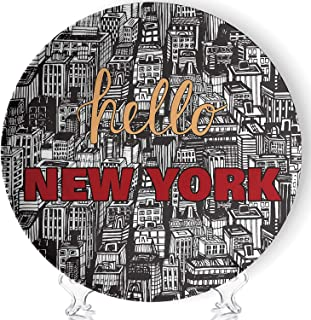Vintage Poster with Quote Hello New York Art Home Ceramic Decorative Plate Collectible Display Plate Crafts,with Stand,for Living Room of The Home,6''