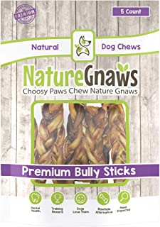 Nature Gnaws Braided Bully Sticks 5-6 inch - 100% Natural Grass-Fed Beef Dog Chews
