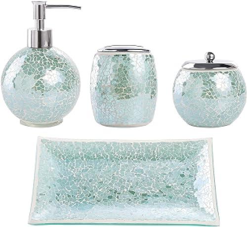 Whole Housewares Bathroom Accessories Set, 4-Piece Glass Mosaic Bath Accessory Completes Lotion Dispenser/Soap Pump, ...