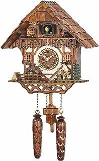 Quartz Cuckoo Clock Black forest house with music, wood-cutter TU 468 QM HZZG