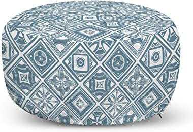 Lunarable Abstract Ottoman Pouf, Monochrome Mediterranean Influence Vintage Style Motifs in Diagonal Squares, Decorative Soft Foot Rest with Removable Cover Living Room and Bedroom, Blue Grey White