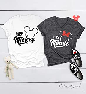 Couple Shirts, Her Mickey His Minnie Shirts, Cute Couple Matching Shirt, Ladies Summer Tanks