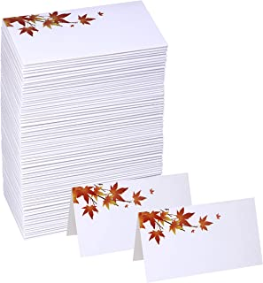 Winlyn 100 Pcs Table Name Number Tented Place Cards with Fall Maple Leaves Blank Seating Assignment Cards Escort Cards Greeting Cards Bulk 3.5