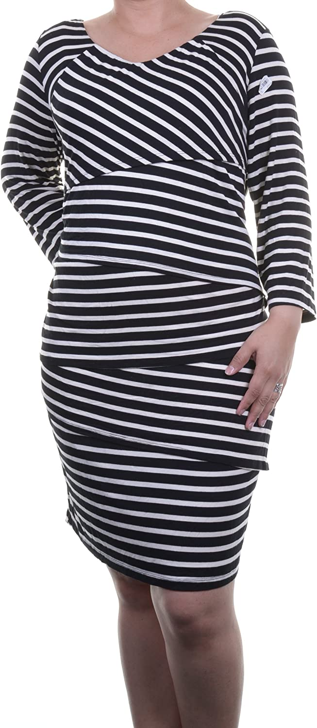 NY Collection Women's Plus-Size Crisscross Striped Dress