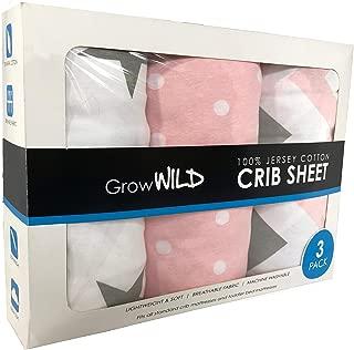 Grow Wild Crib Sheet 3 Pack   100% Cotton, Jersey Soft   Pink Grey White Set for Baby Girls Boys Bed Mattress   Baby Shower Registry Gift