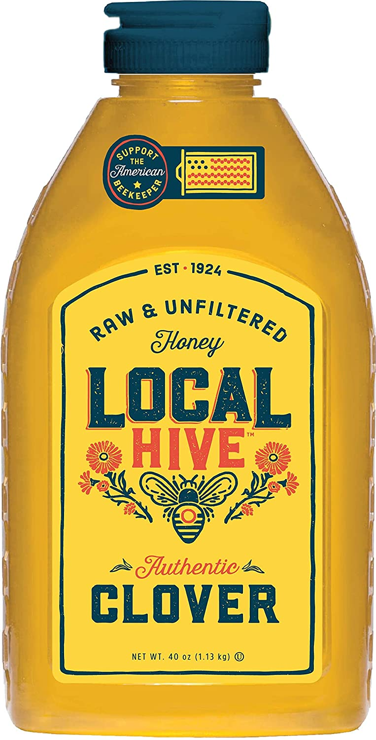 Local Hive, Authentic Clover, Raw Honey, Pure and Unfiltered, United States Beekeepers, 40oz