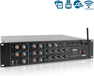 8-Channel Wireless Bluetooth Power Amplifier - 4000W Rack Mount Multi Zone Sound Mixer Audio Home Stereo Receiver Box System w/RCA, USB, AUX - for Speaker, PA, Theater, Studio/Stage - Pyle PT8050CH