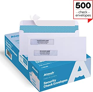 500 Self Seal Double Window Security Check Envelopes – Size 3 5/8 x 8 11/16 Inches..