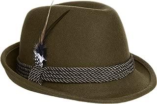 Alpine Holiday Oktoberfest Wool Bavarian Fedora Hat - Green - Medium (7 to 7 1/8) St. Patrick's Day