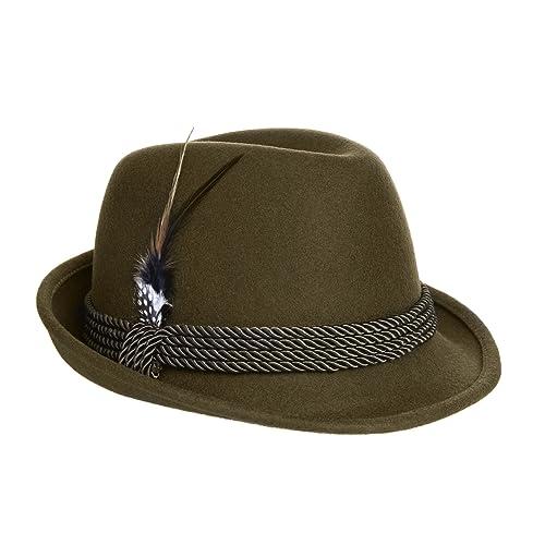 8211b8ccc22 Alpine Holiday Oktoberfest Wool Bavarian Fedora Hat - Green - Large (7 1 4