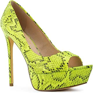 RF ROOM OF FASHION Open Pointy Toe Snake Print Stiletto Heel Pumps