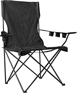 WagonBuddy 6 FT Giant Oversized Jumbo XXL Monster Kingpin Big Portable Folding Chair Camp Beach Outdoor Patio with 6 Cup Holders Free Carry Bag - Black