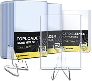 """HYARUAT Top Loaders and Penny Sleeves, Trading Card Sleeves Kit - 50 Hard Plastic Toploader ( 3"""" x 4"""") + 100 Soft Clear Ca..."""