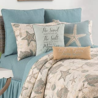 C&F Home Amber Sands Full/Queen Quilt Set Coastal Tropical Beach Ocean Reversible Bedspread Coverlet 3 Piece with 2 Shams