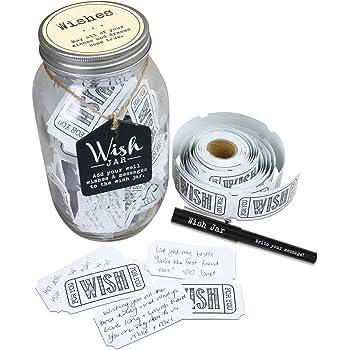 Amazon Com Top Shelf Wedding Wish Jar Kit With 100 Tickets And Decorative Lid Home Kitchen